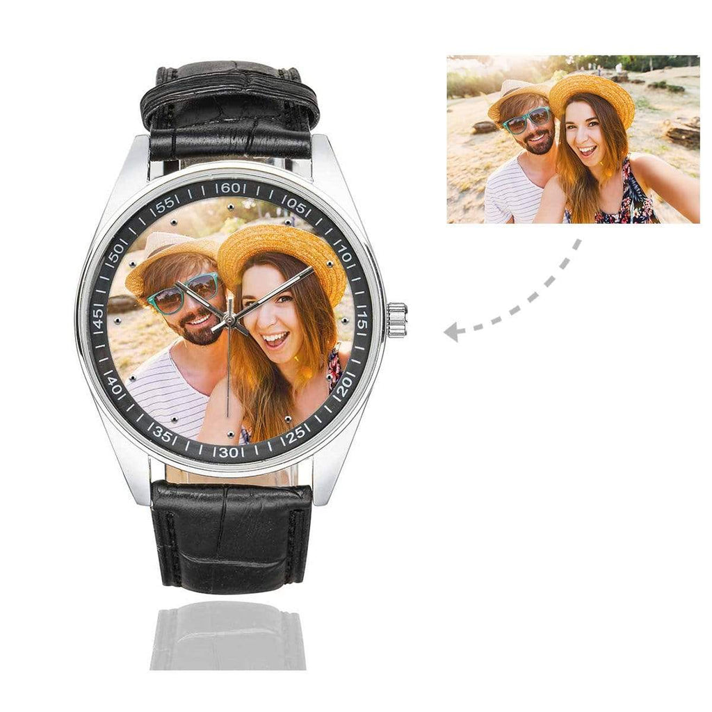 Men's Custom Couple Photo Casual Watch, Black Leather Strap