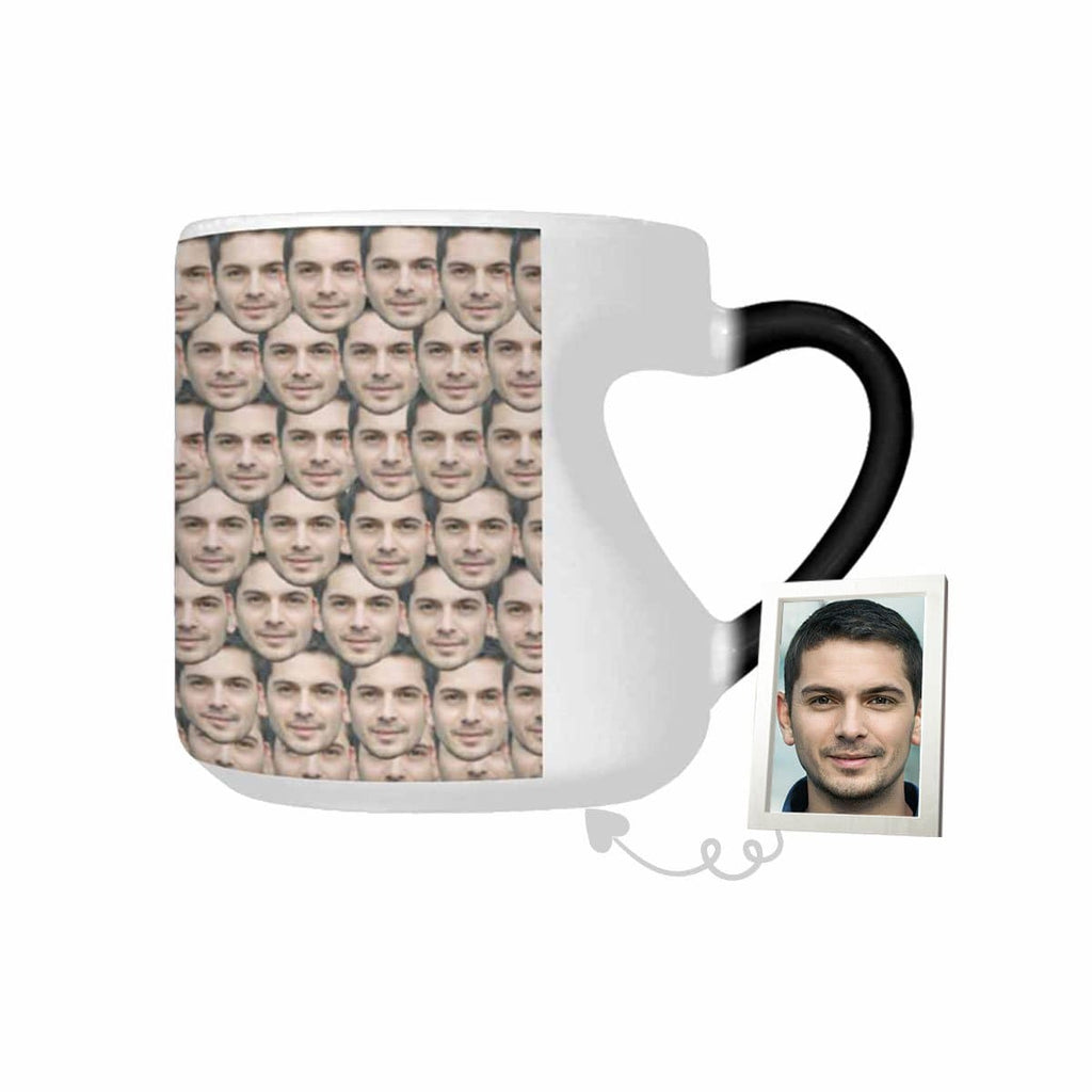 Custom Face Pattern Heart-shaped Color Change Mug