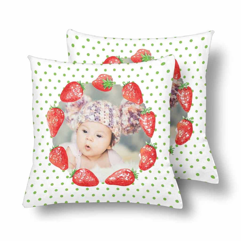 Custom Baby Photo Strawberry Throw Pillow Cover