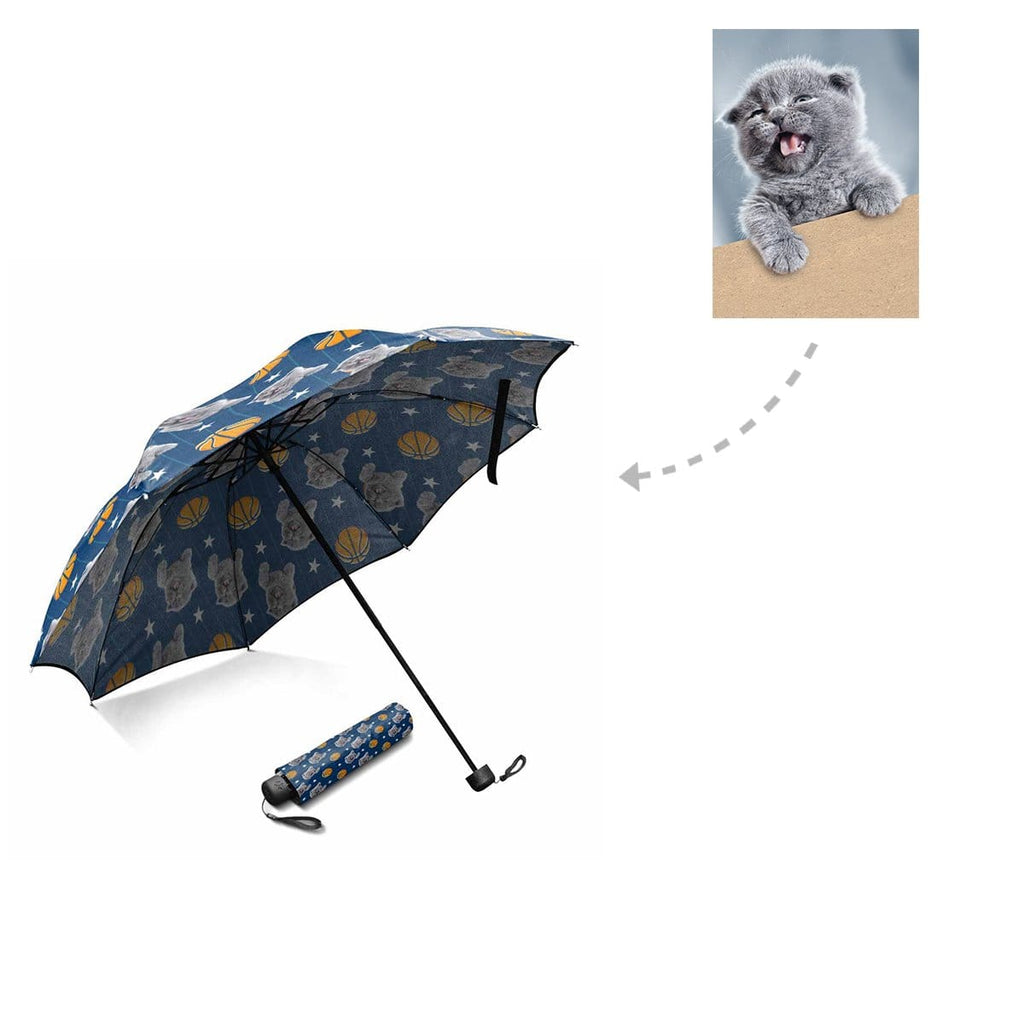Custom Cat Basketball Stripe Foldable Umbrella