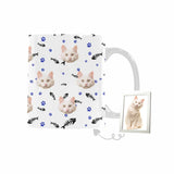 Custom Cat Face Paw and Fish Bone Classical White Mug