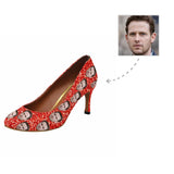 Custom Boyfriend Face Shiny Red Women's Pumps