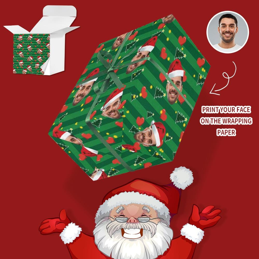 Custom Face Christmas Hat Love Gift Wrapping Paper