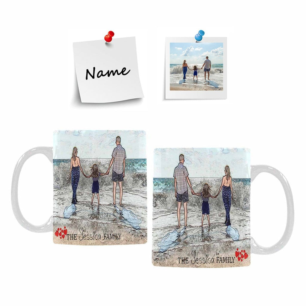 Custom Family Photo and Name Classical White Mug