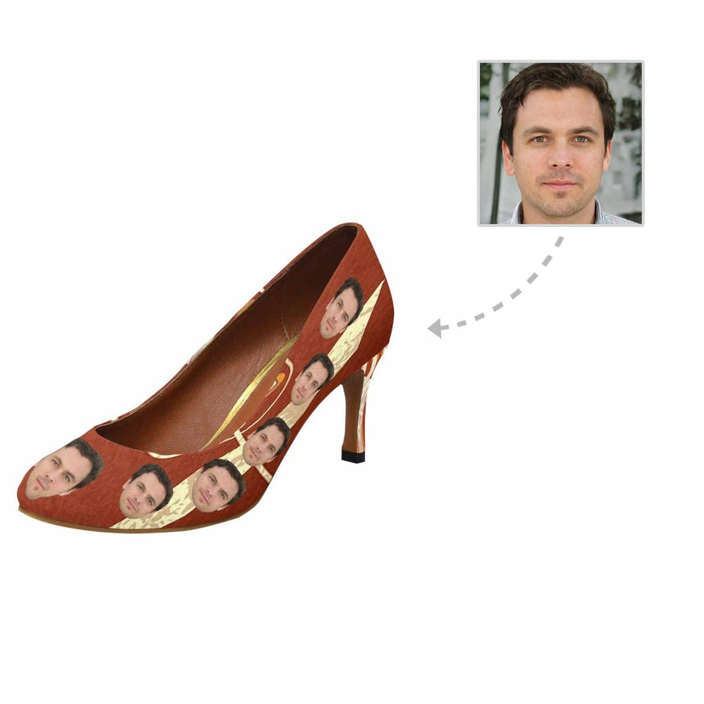 Custom Boyfriend Face Brown Women's Pumps