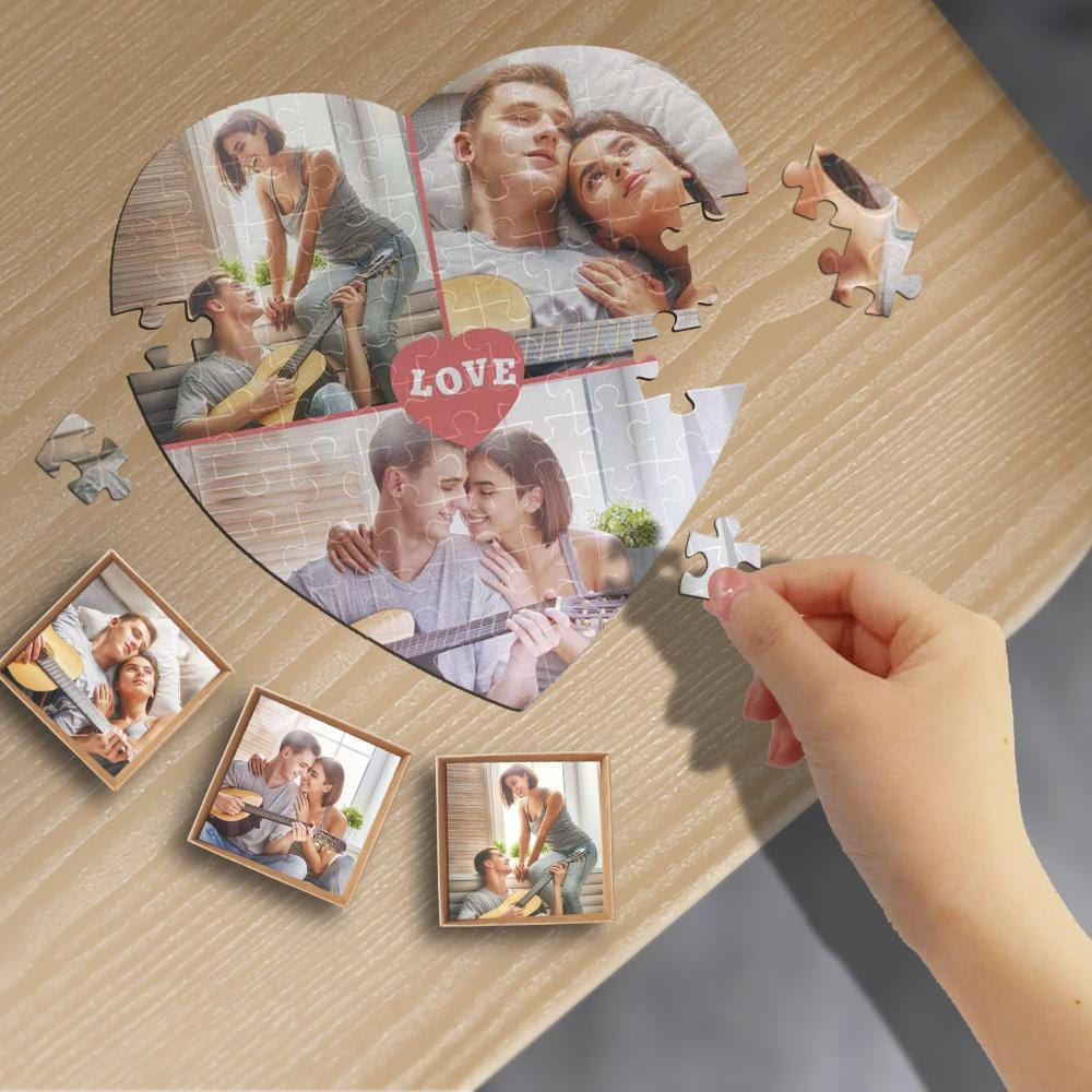 Custom Photo Love Heart-Shaped Jigsaw Puzzle