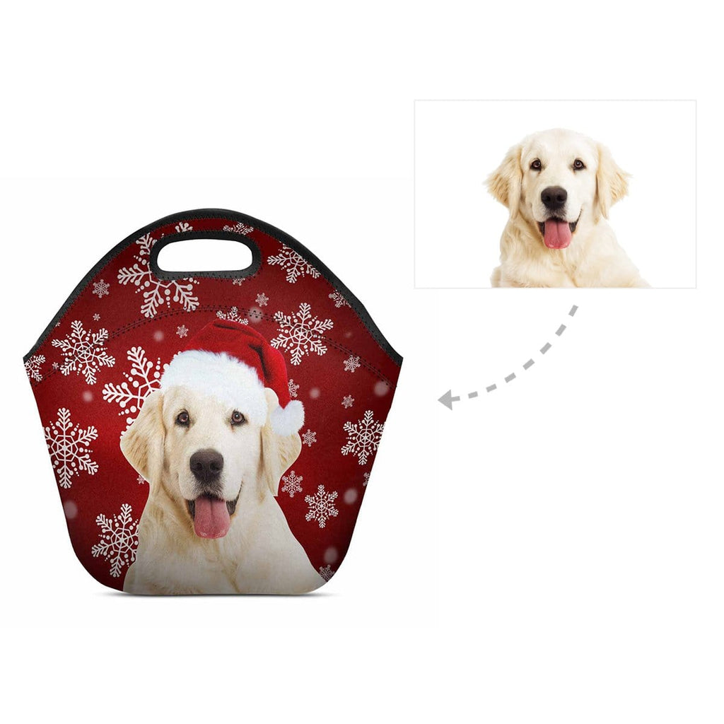 Custom Dog Christmas Snowflake Neoprene Lunch Bag