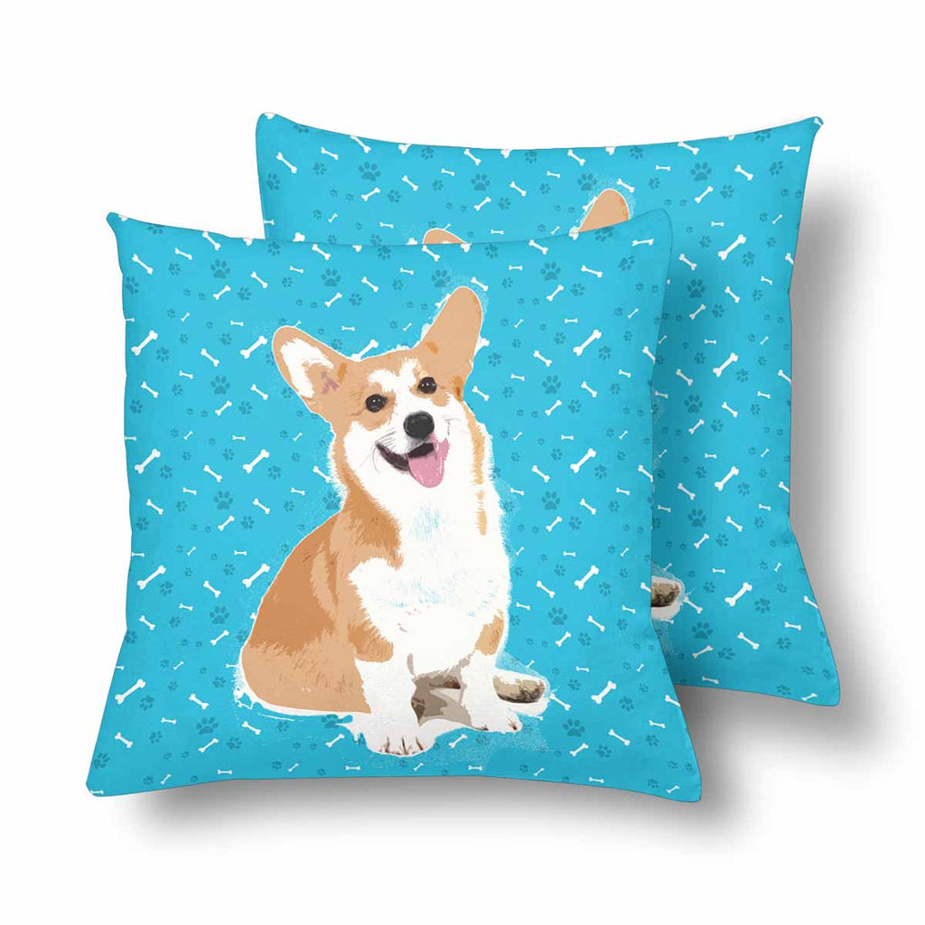 Custom Cartoon Dog Paw and Bone Throw Pillow Cover