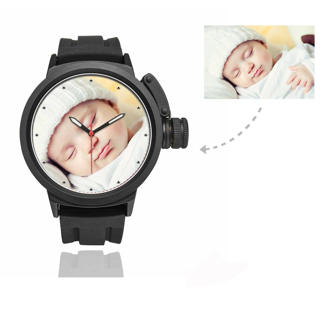 Men's Custom Baby Photo Sport Watch, Plastic Strap