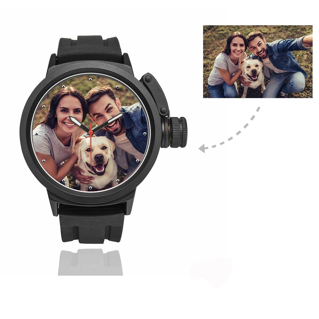 Men's Custom Pet Lover Photo Sport Watch, Plastic Strap