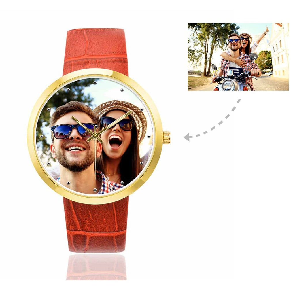 Custom Women's Rose Golden Couple Photo Watch,Red Leather Strap
