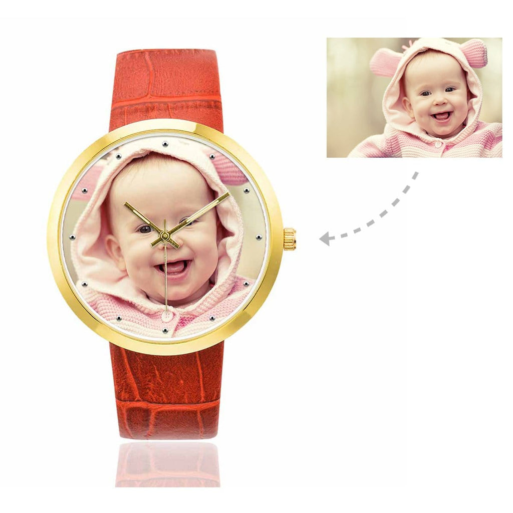 Custom Women's Rose Golden Baby Photo Watch,Red Leather Strap