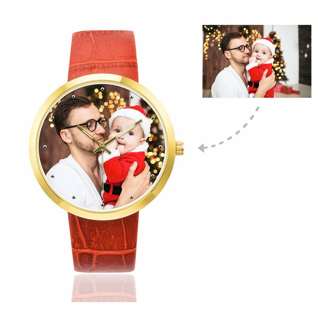 Custom Women's Rose Golden Dad & Baby Photo Watch,Red Leather Strap