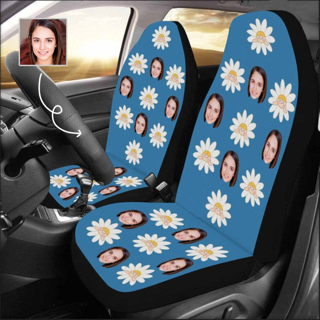 Custom Face Flower Car Seat Covers (Set of 2)