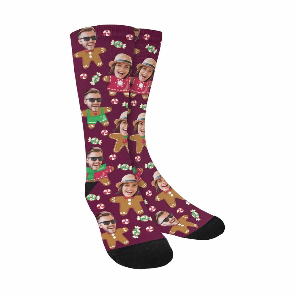 Custom Face Gingerbread Sublimated Crew Socks