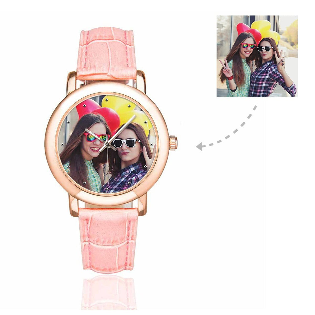 Custom Women's Rose Golden Friends Photo Watch, Pink Leather Strap