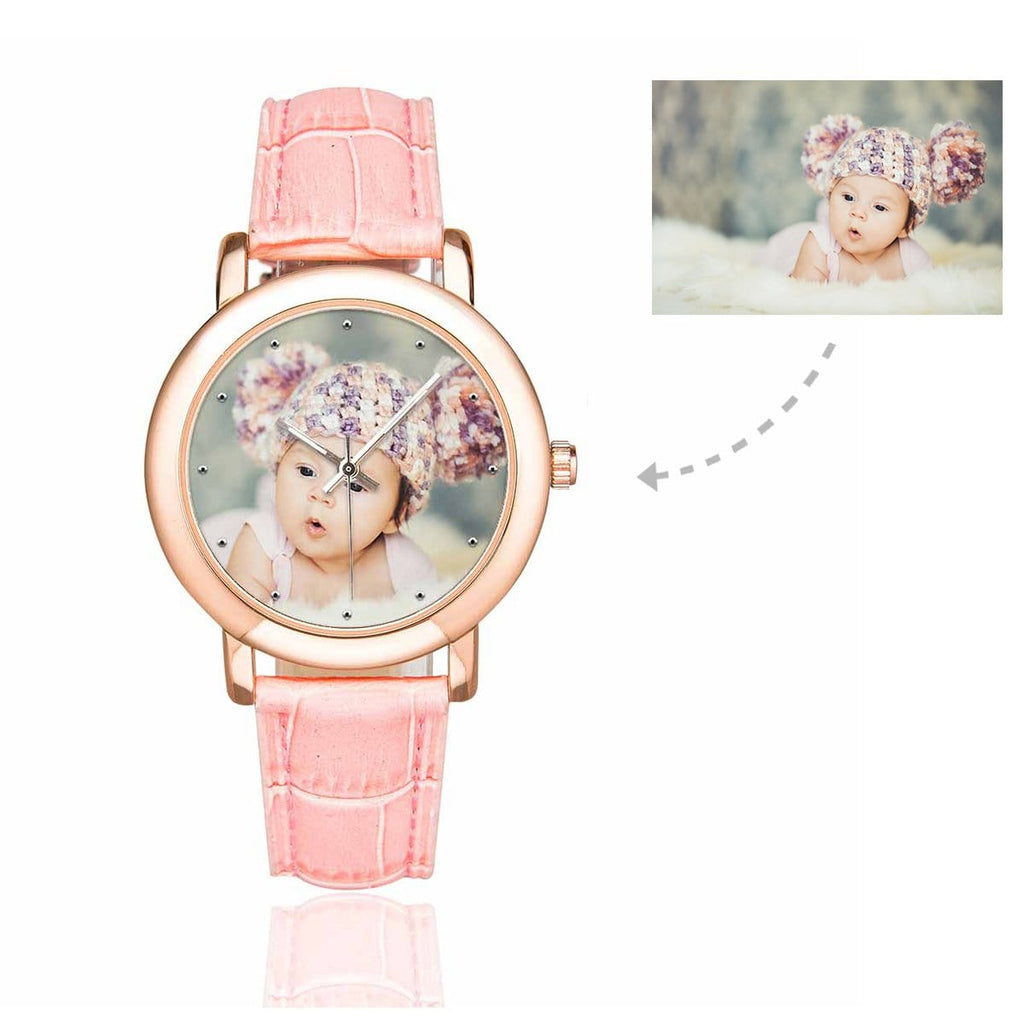 Custom Women's Rose Golden Baby Photo Watch, Pink Leather Strap
