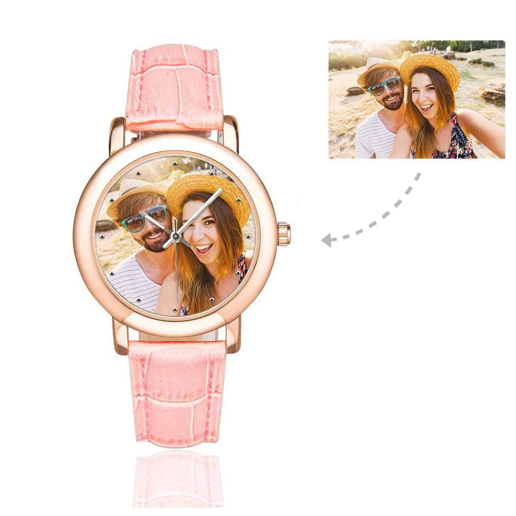 Custom Women's Rose Golden Couple Photo Watch, Pink Leather Strap