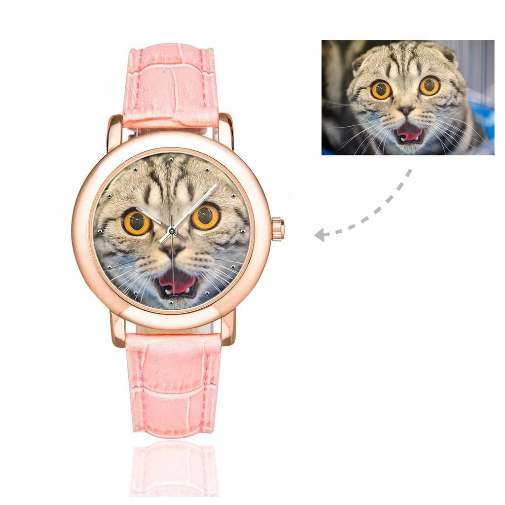 Custom Women's Rose Golden Cat Photo Watch, Pink Leather Strap
