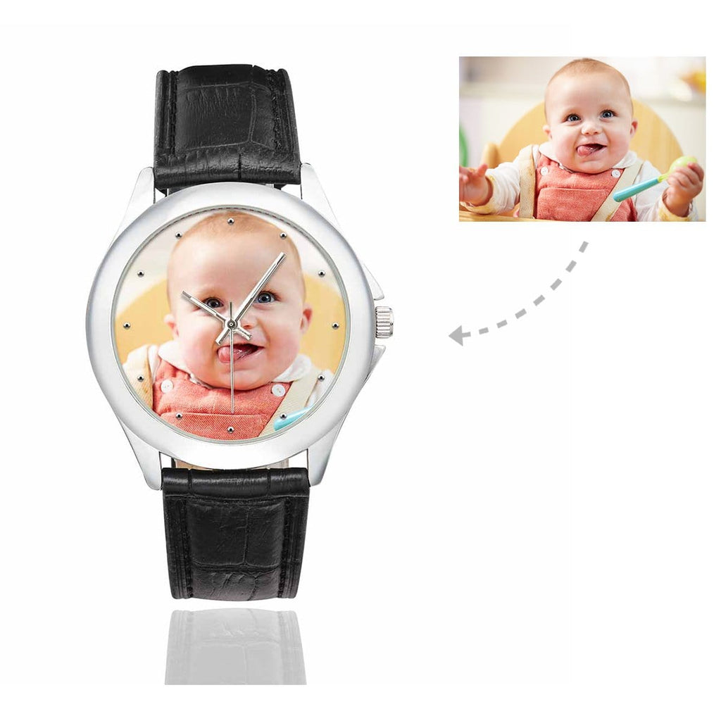 Women's Custom Baby Photo Classic Watch, Black Leather Strap