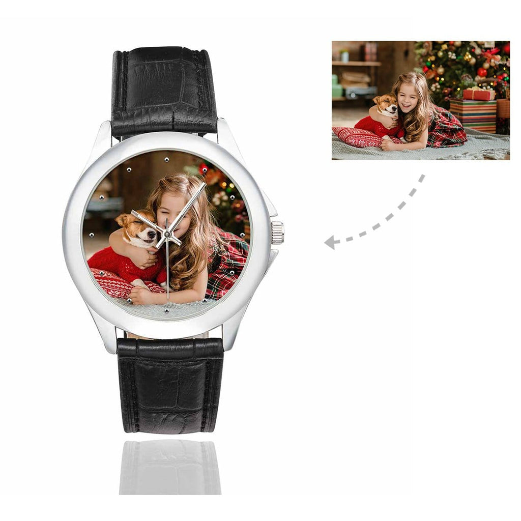 Women's Custom Pet Lover Photo Classic Watch, Black Leather Strap