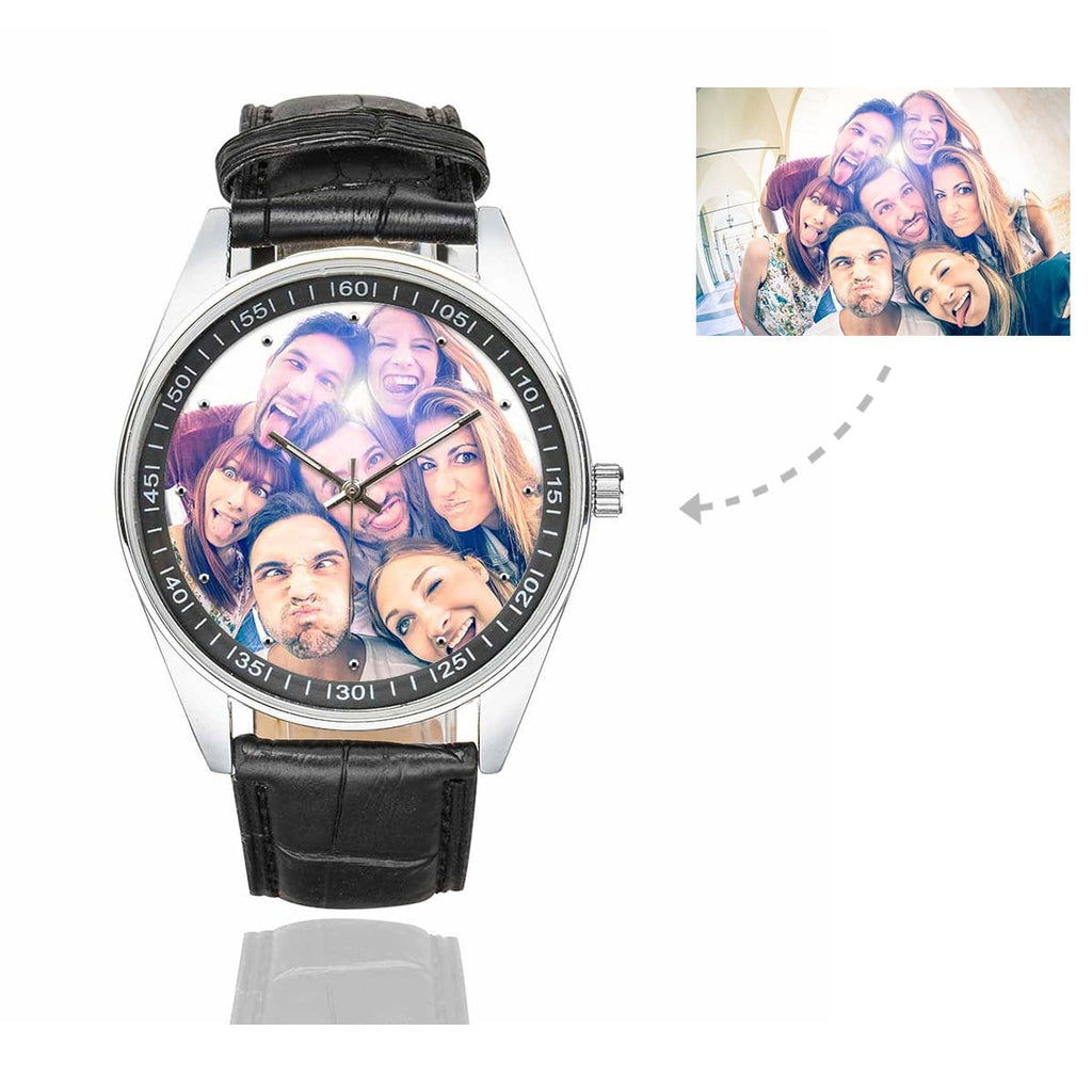 Men's Custom Friends Photo Casual Watch, Black Leather Strap