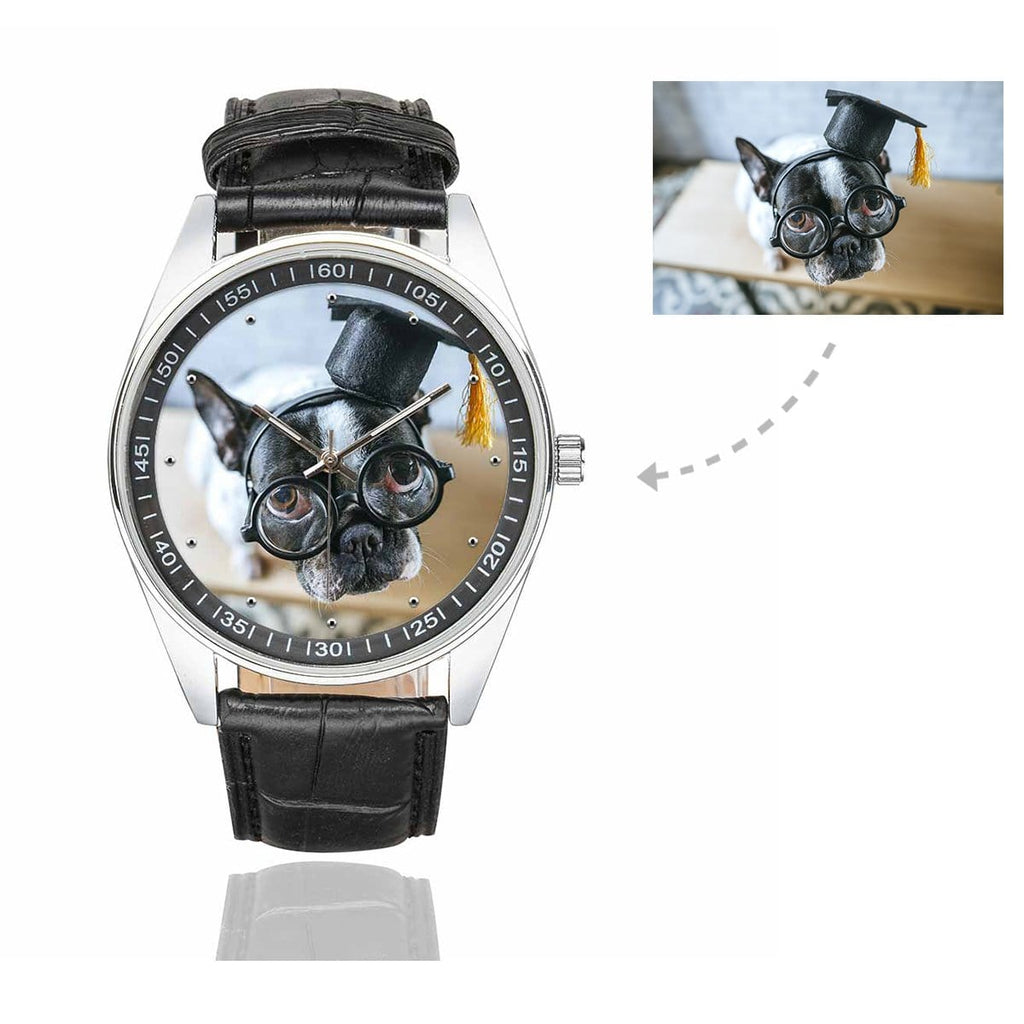 Men's Custom Dog Photo Casual Watch, Black Leather Strap