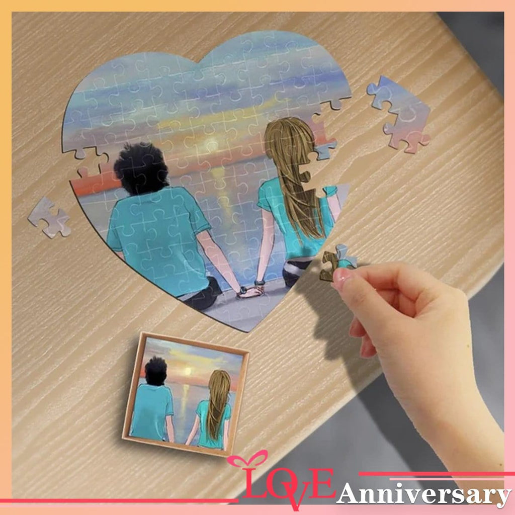 Custom Photo Sunrise Heart-Shaped Jigsaw Puzzle Best Indoor Gifts For Lover 75 Pieces