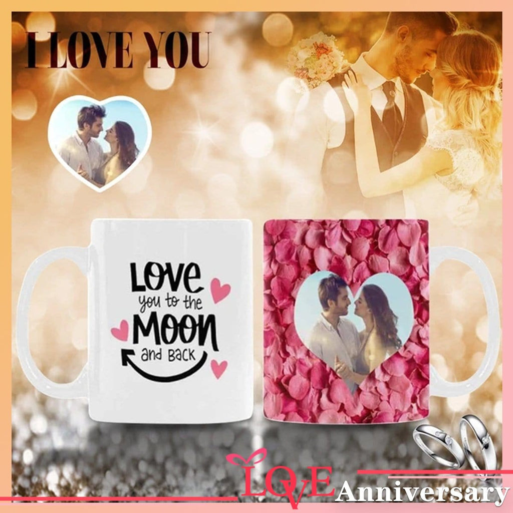 Custom Photo Love You to the Moon and Back Rose Classical White Mug
