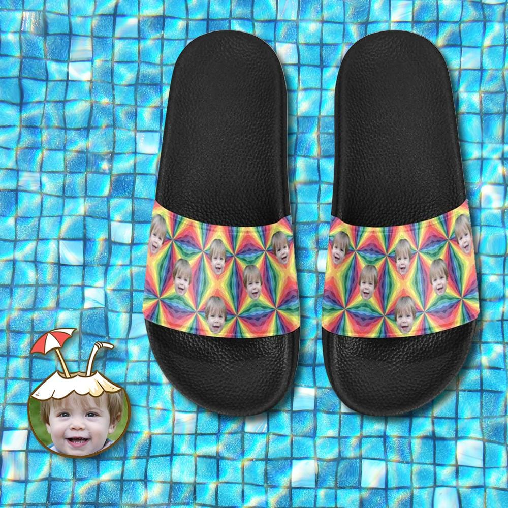 Custom Face Colorful Pattern Women's Slide Sandal
