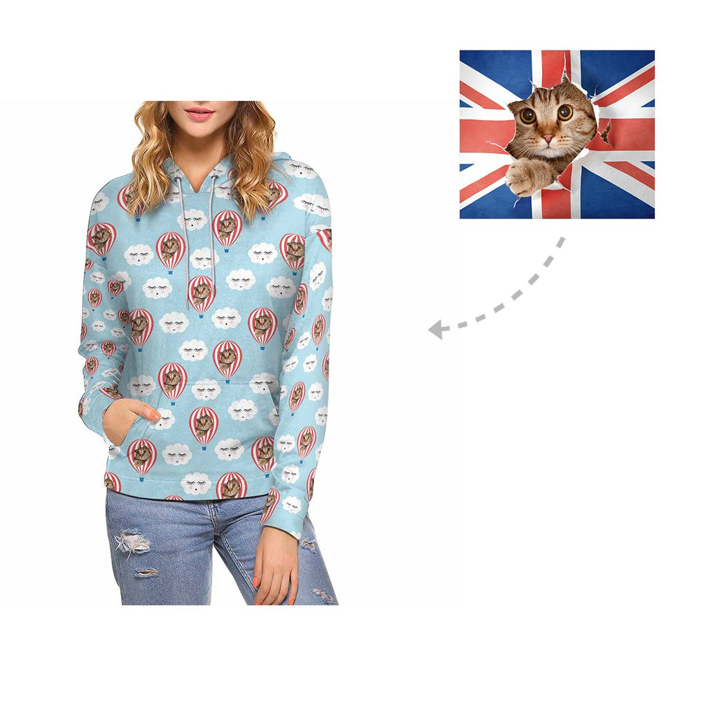 Custom Cat Face Hot Air Balloon Cloud Women's All Over Print Hoodie