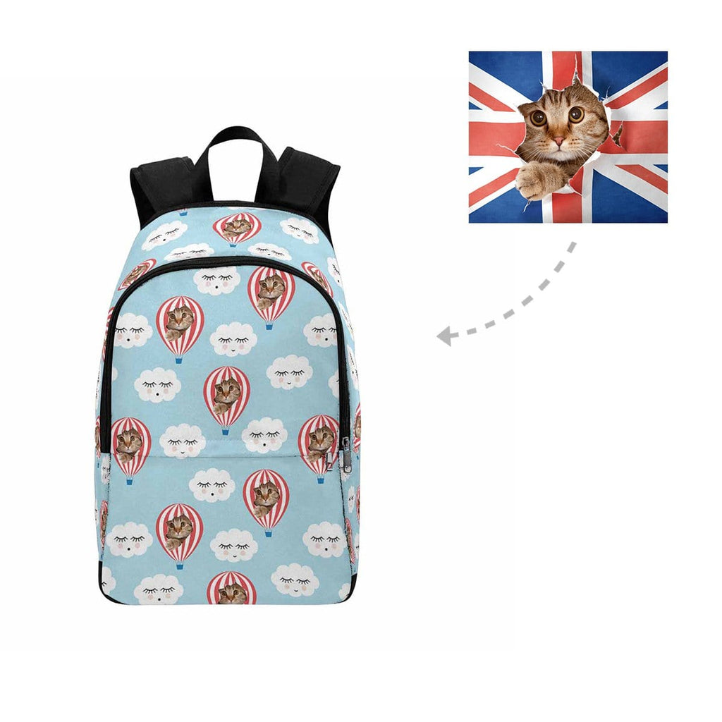 Custom Cat Hot Air Balloon Cloud Backpack