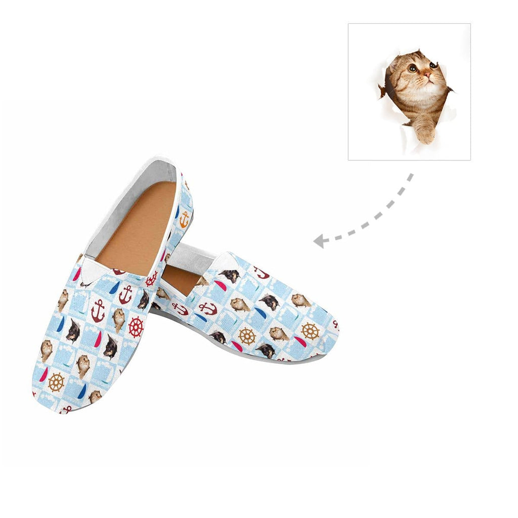 Custom Cat Face Nautical Women's Casual Shoes