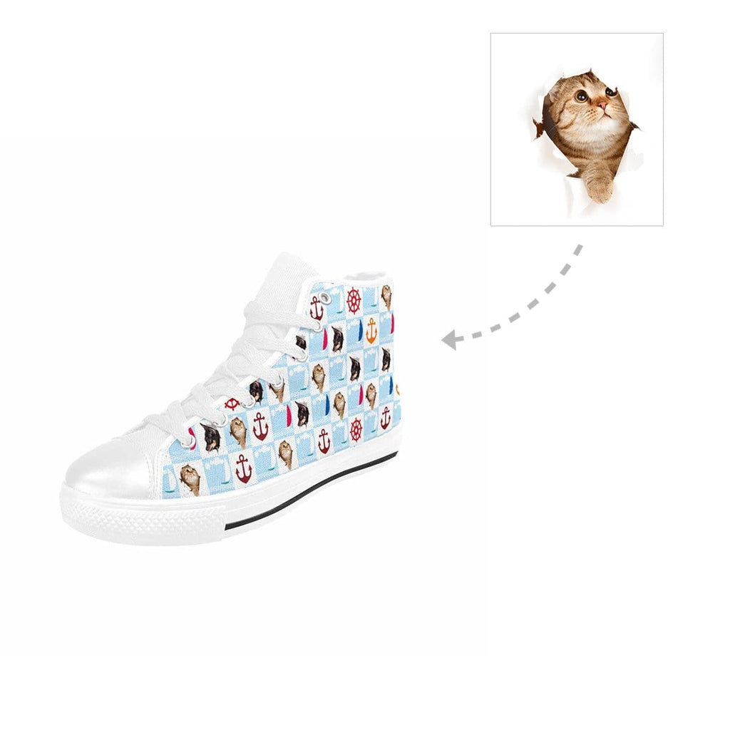 Custom Cat Face Nautical High Top Canvas Shoes