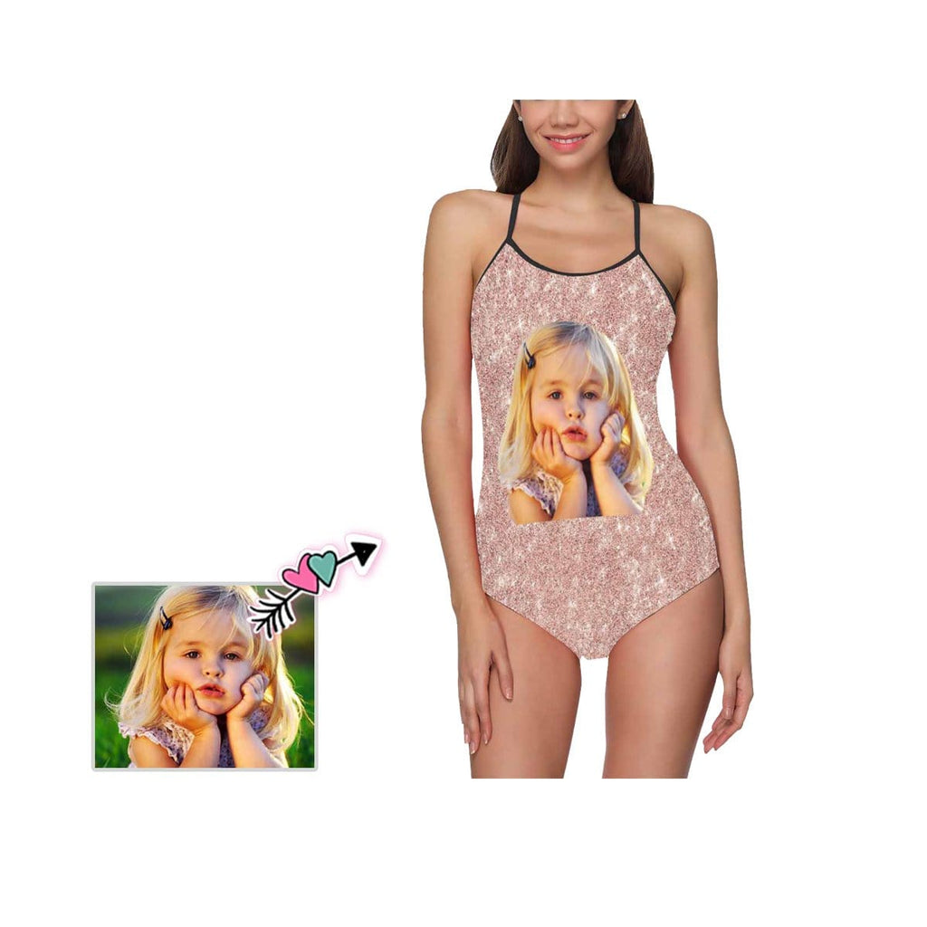 Custom Face Shiny Pink Women's Slip One Piece Swimsuit