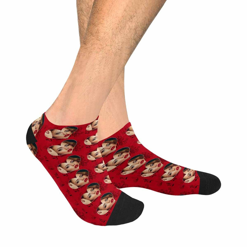Custom Face Red Love Men's Ankle Socks