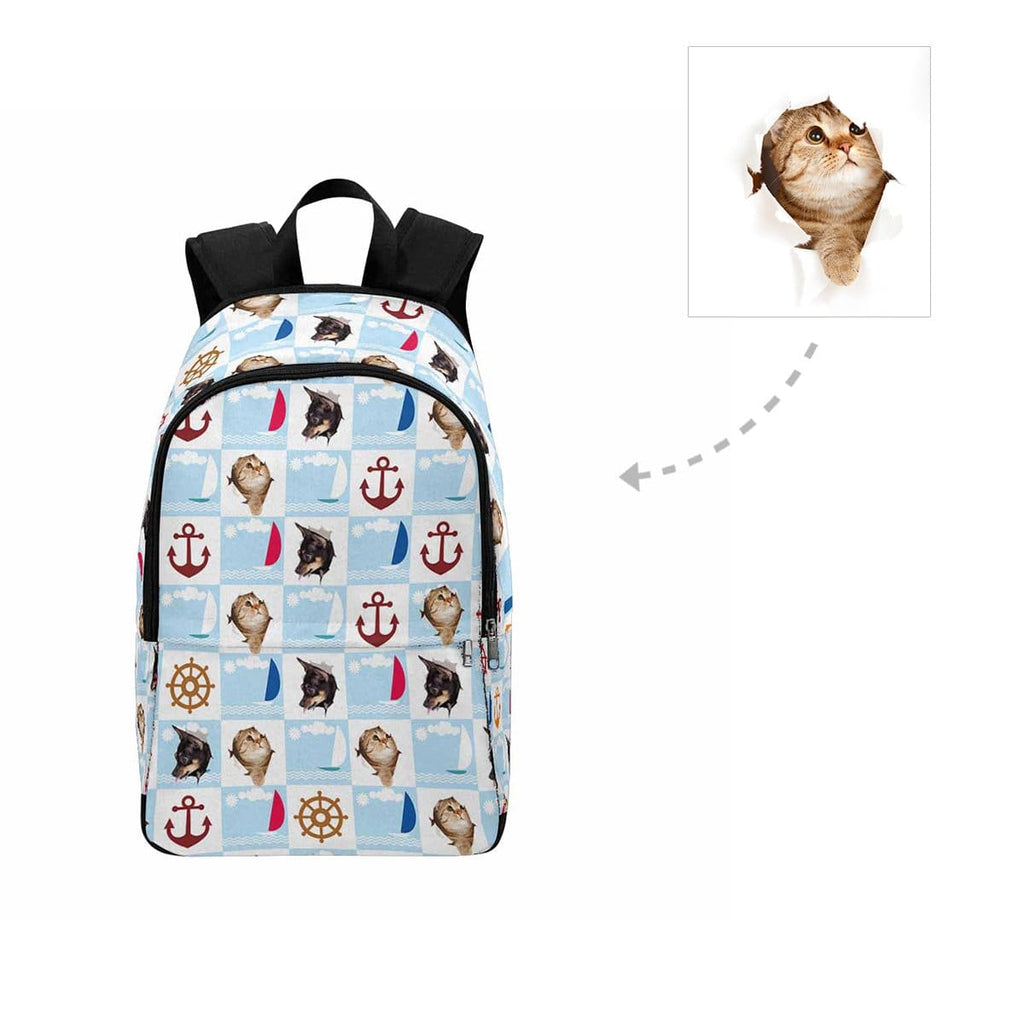 Custom Cat Face Nautical Backpack