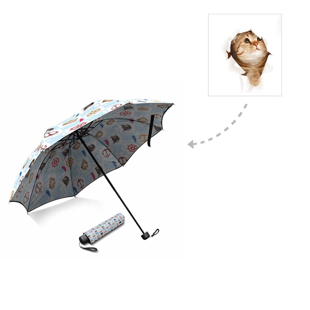 Custom Cat Face Nautical Foldable Umbrella