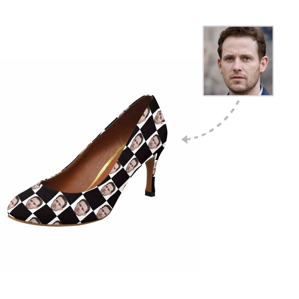 Custom Boyfriend Face Black & White Grid Women's Pumps