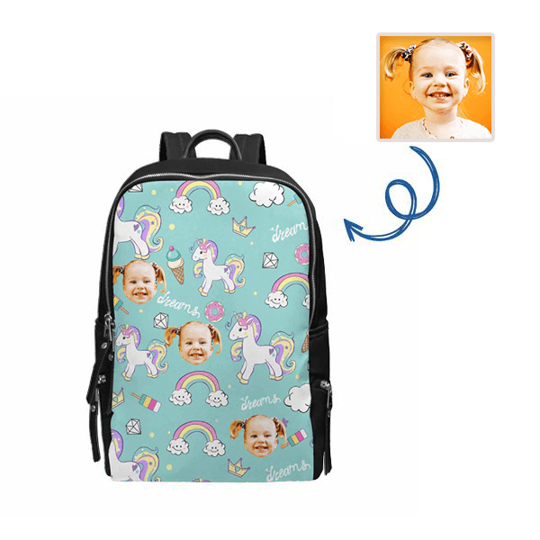 Custom Face Unicorn & Donuts School Bag