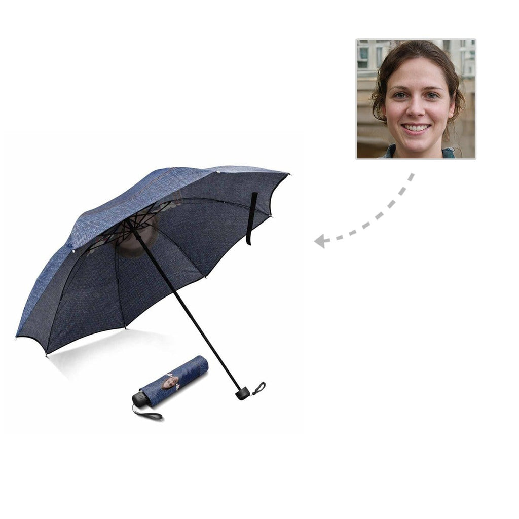 Custom Face Denim Foldable Umbrella
