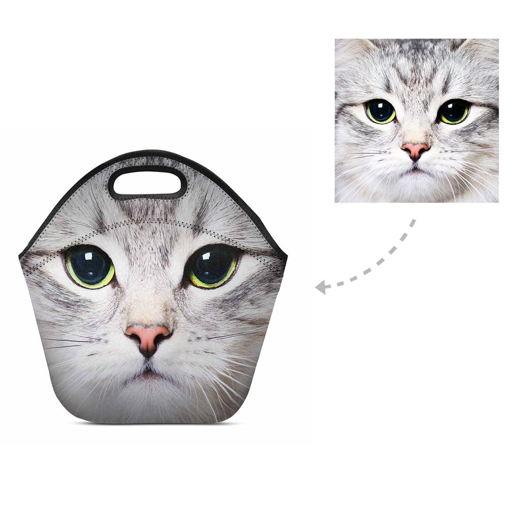 Custom Cat Face Neoprene Lunch Bag