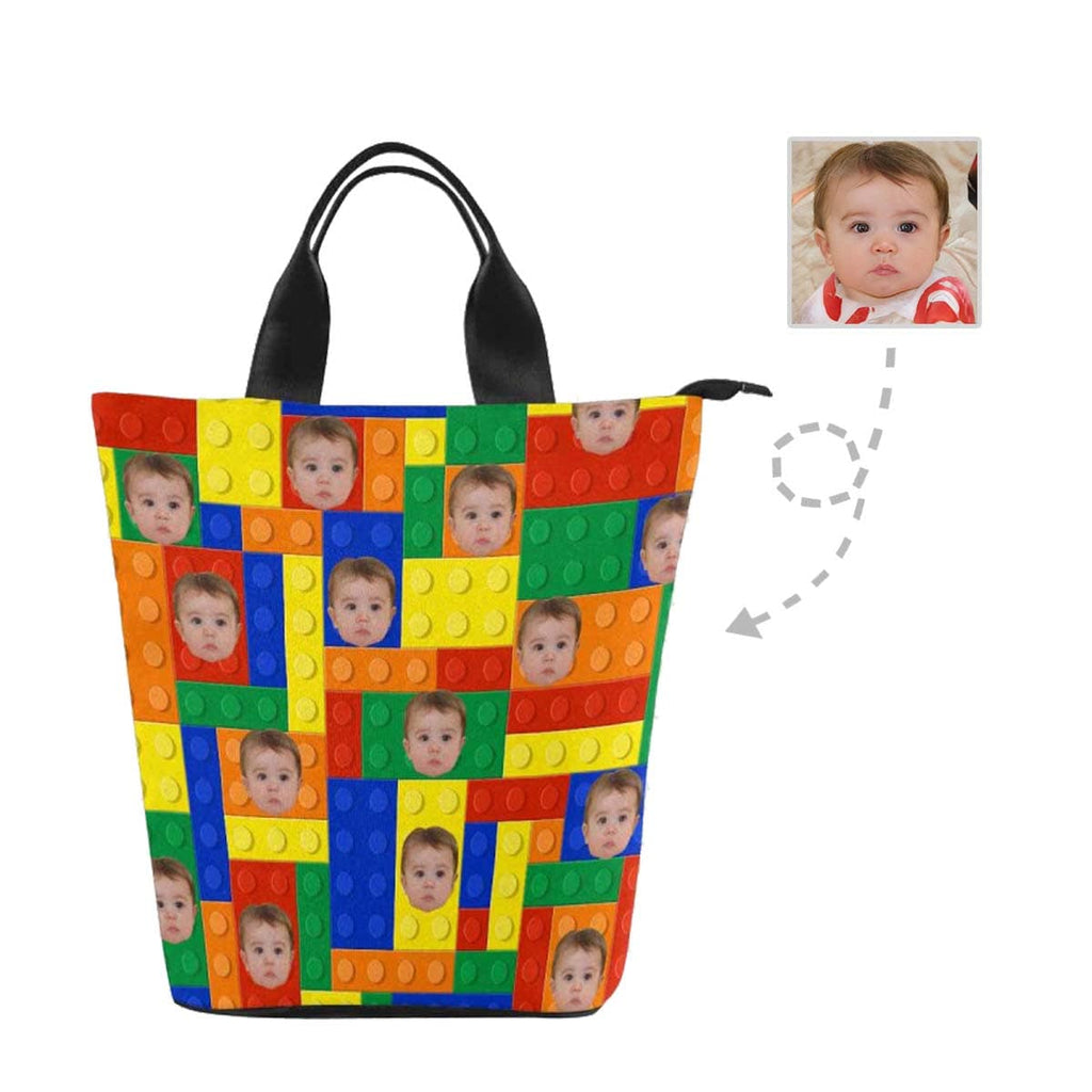Custom Face Toy Brick Nylon Lunch Bag