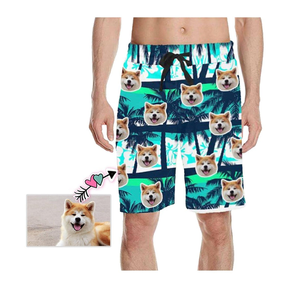 Custom Face Coconut Trees Men's All Over Print Casual Shorts