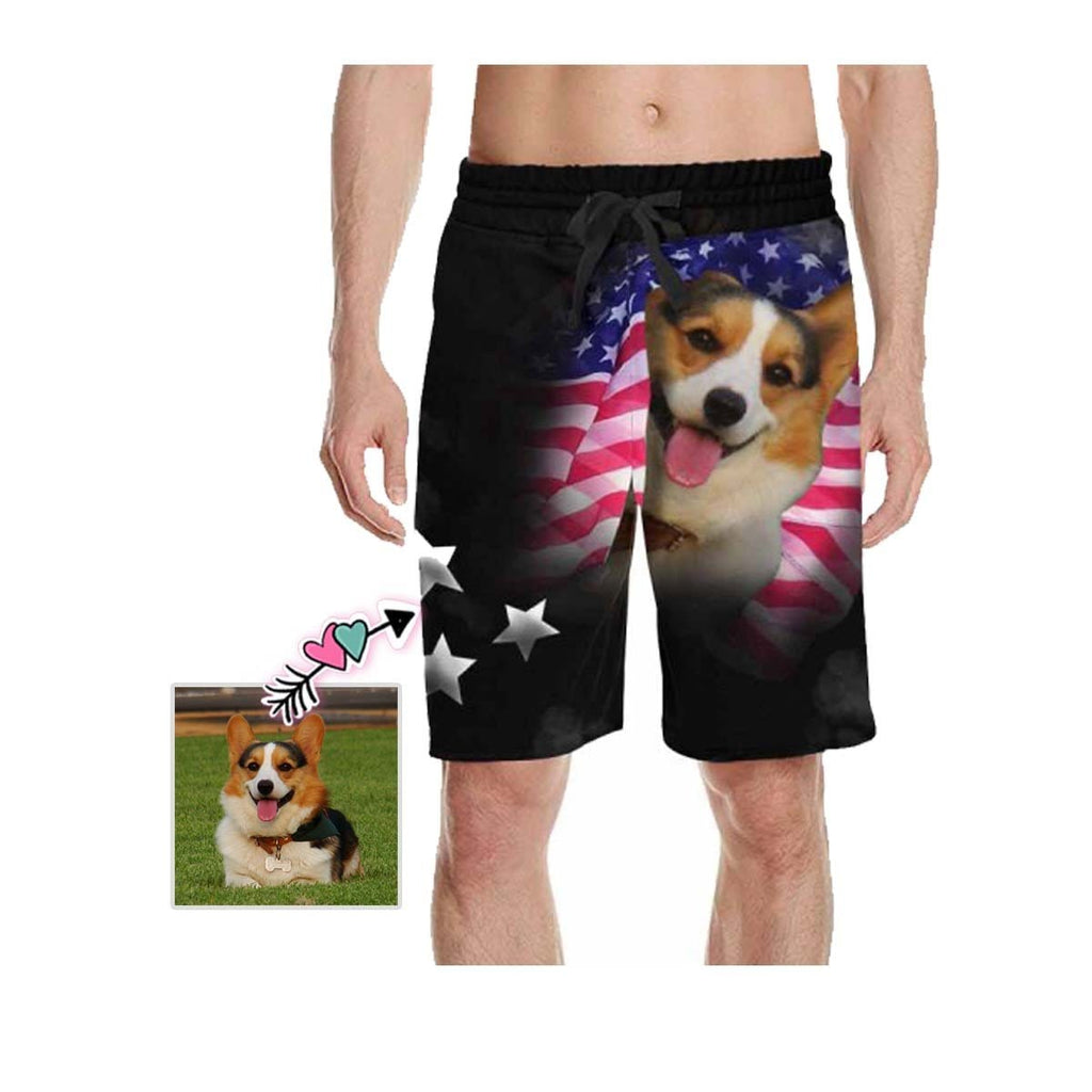 Custom Face Pet Flag Men's All Over Print Casual Shorts