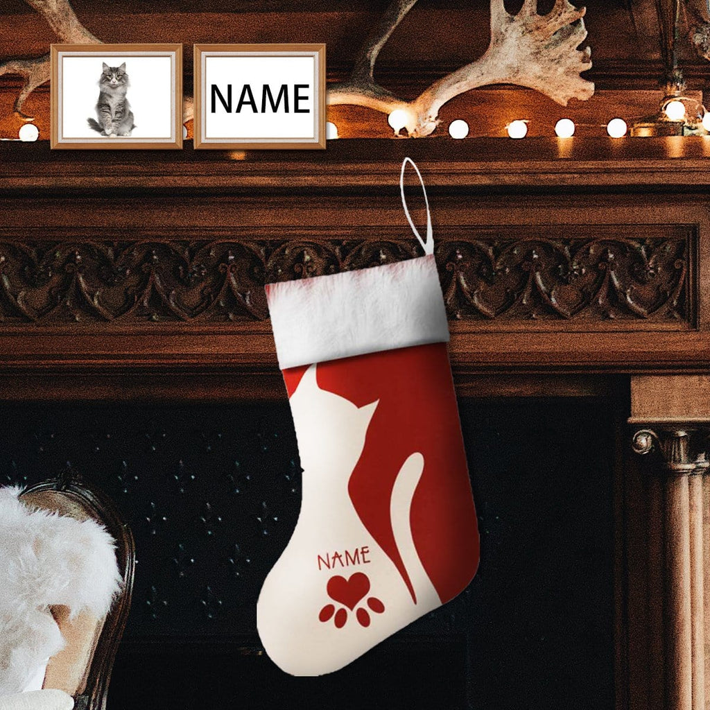 Custom Face&Name Cat Christmas Stocking