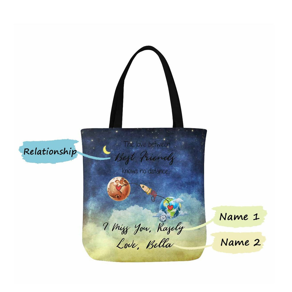 Custom Best Friends Name Planet Canvas Tote Bag