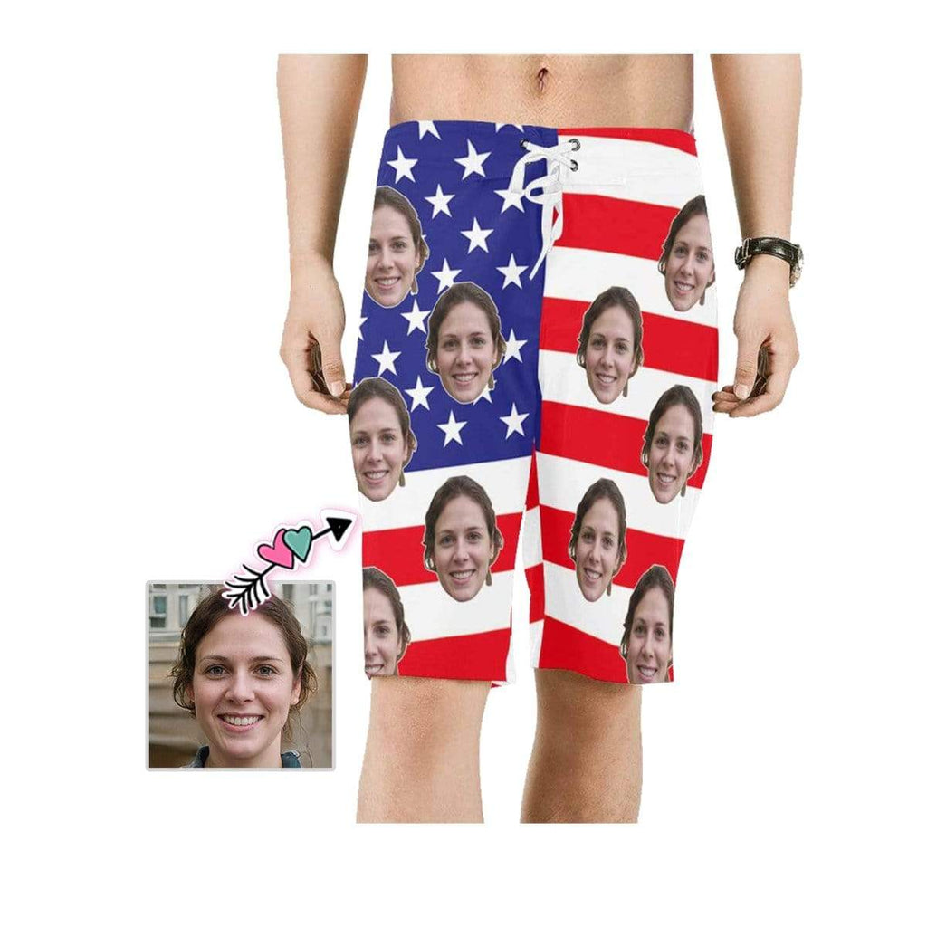Custom Face Flag White Star Men's Beach Shorts