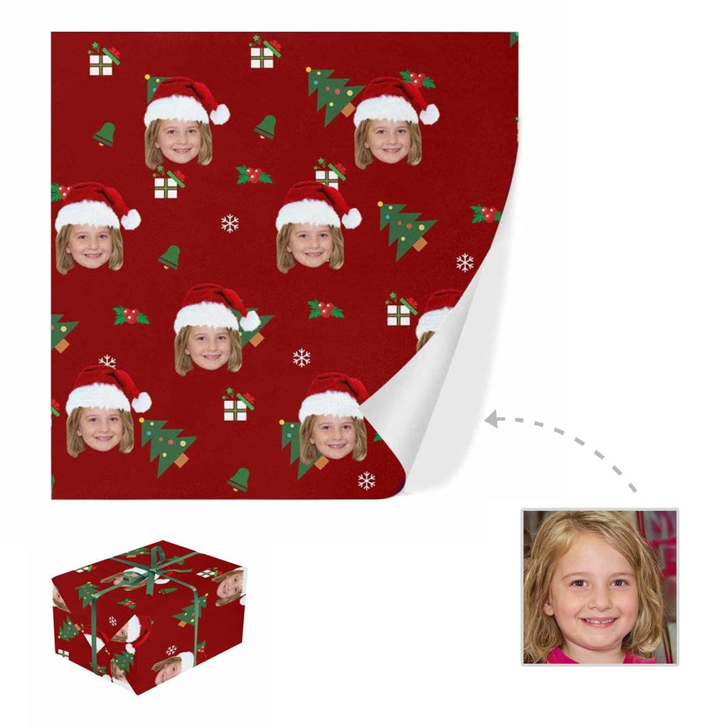 Custom Face Christmas Tree Gift Wrapping Paper