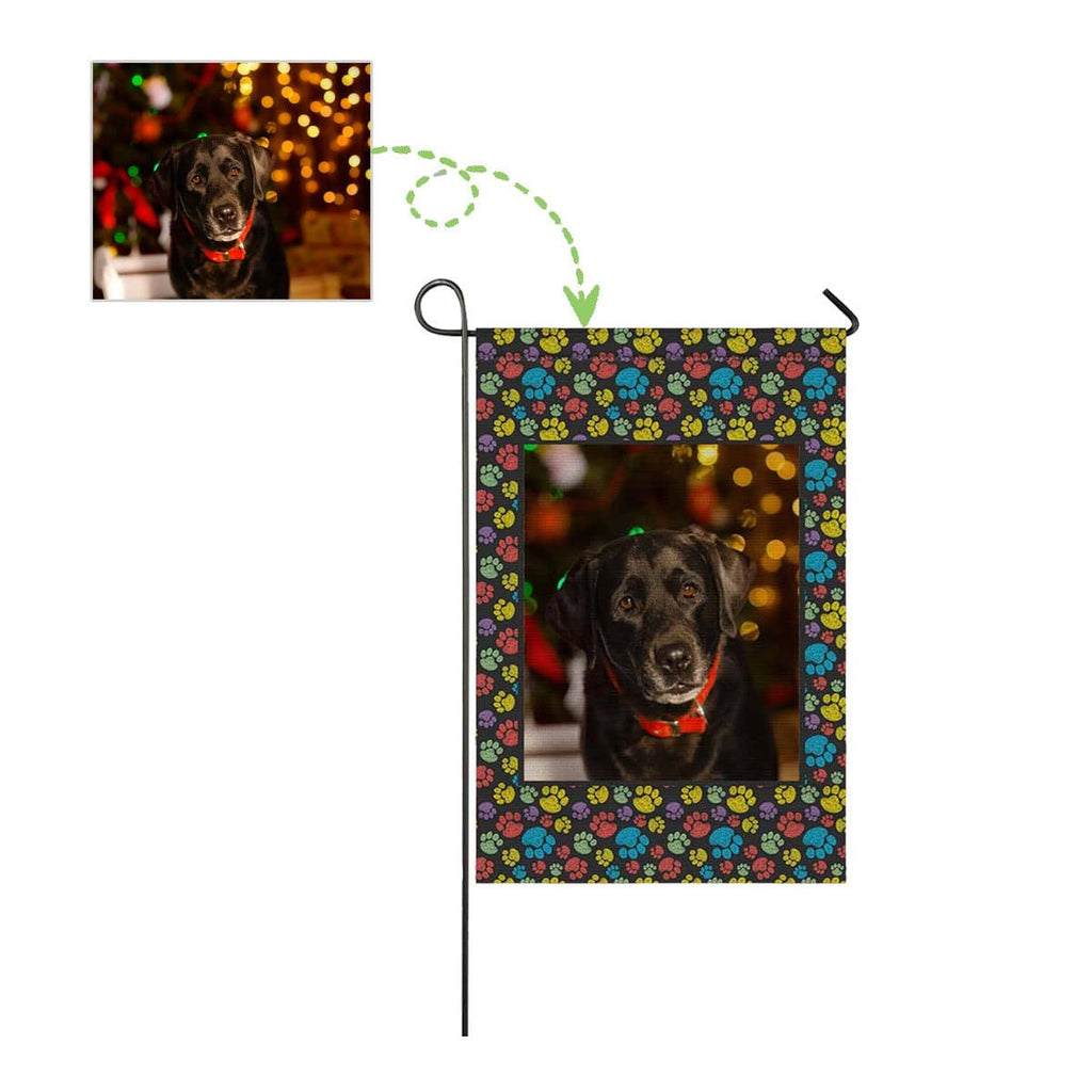 Custom Dog Face Paw Garden Flag
